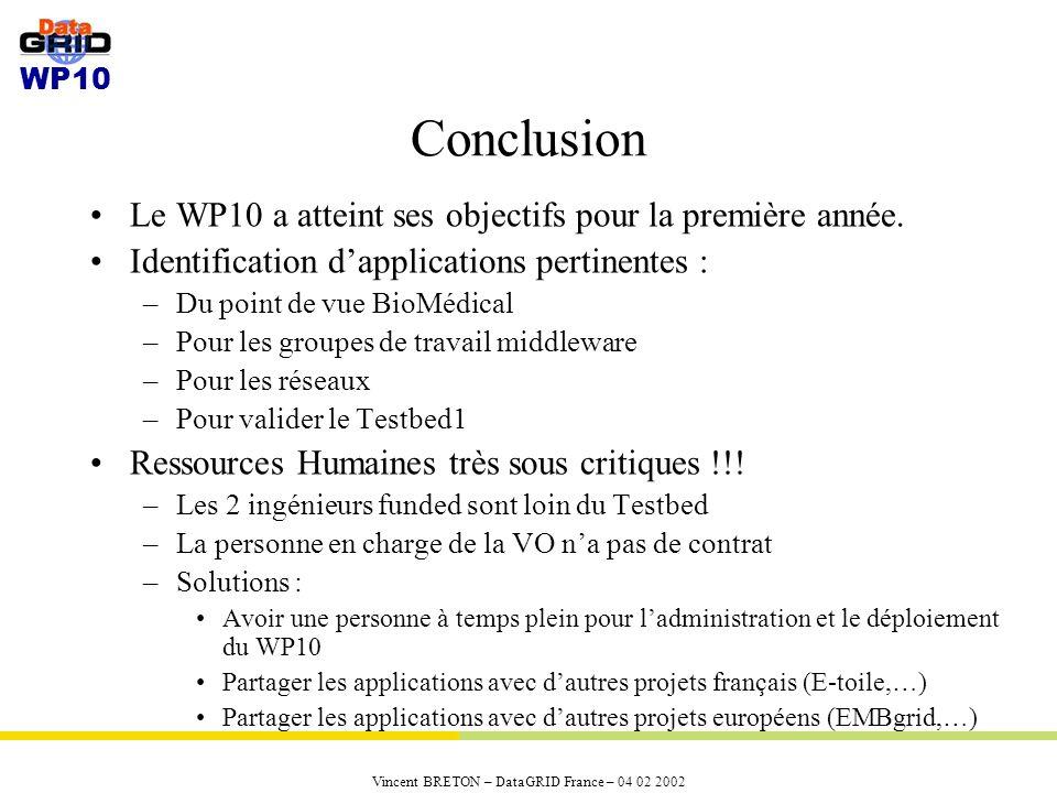 WP10 Vincent BRETON – DataGRID France – 04 02 2002 Conclusion Le WP10 a atteint ses objectifs pour la première année.