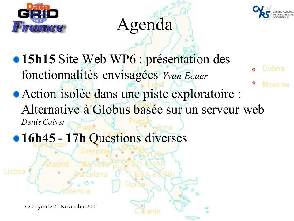 CC-Lyon le 21 Novembre 2001 Agenda 15h15 Site Web WP6 : présentation des fonctionnalités envisagées Yvan Ecuer Action isolée dans une piste exploratoire : Alternative à Globus basée sur un serveur web Denis Calvet 16h45 - 17h Questions diverses