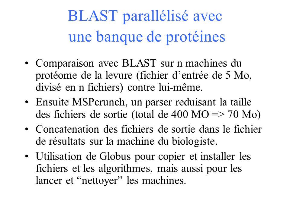 BLAST parallélisé avec une banque de protéines Comparaison avec BLAST sur n machines du protéome de la levure (fichier dentrée de 5 Mo, divisé en n fichiers) contre lui-même.