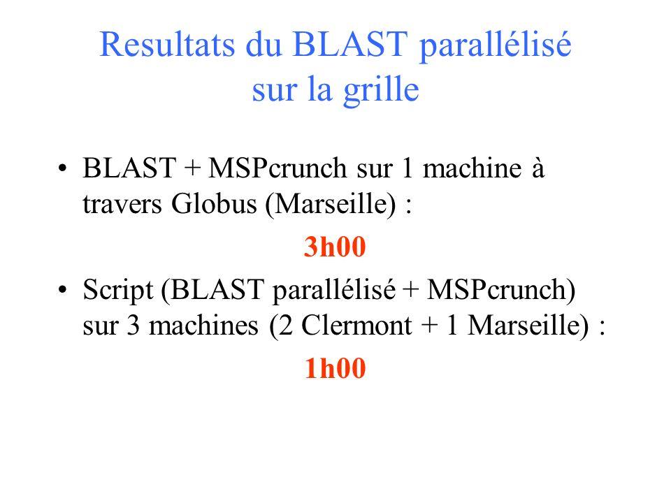 Resultats du BLAST parallélisé sur la grille BLAST + MSPcrunch sur 1 machine à travers Globus (Marseille) : 3h00 Script (BLAST parallélisé + MSPcrunch) sur 3 machines (2 Clermont + 1 Marseille) : 1h00