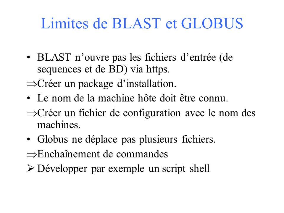 Limites de BLAST et GLOBUS BLAST nouvre pas les fichiers dentrée (de sequences et de BD) via https.