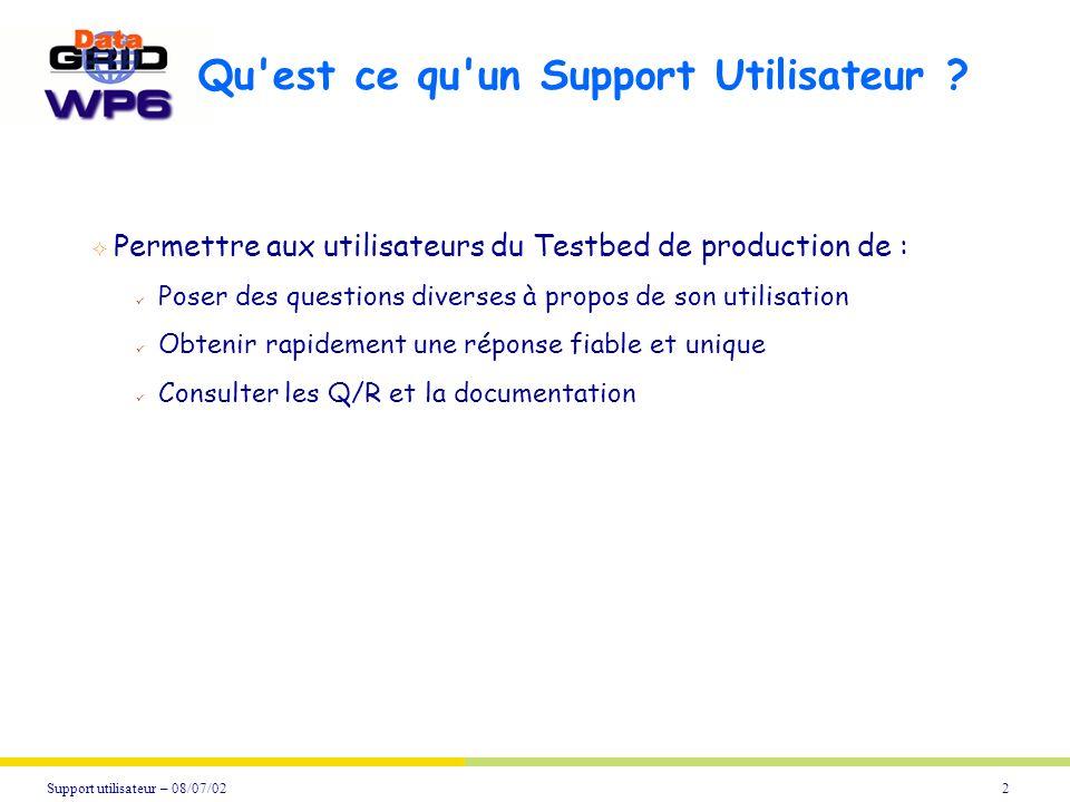 2Support utilisateur – 08/07/02 Qu'est ce qu'un Support Utilisateur ? Permettre aux utilisateurs du Testbed de production de : Poser des questions div