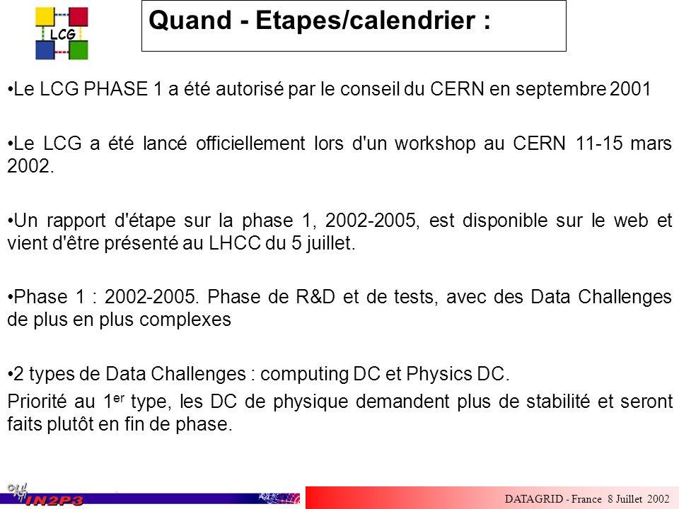 LCG DATAGRID - France 8 Juillet 2002 Quand - Etapes/calendrier : Le LCG PHASE 1 a été autorisé par le conseil du CERN en septembre 2001 Le LCG a été lancé officiellement lors d un workshop au CERN 11-15 mars 2002.