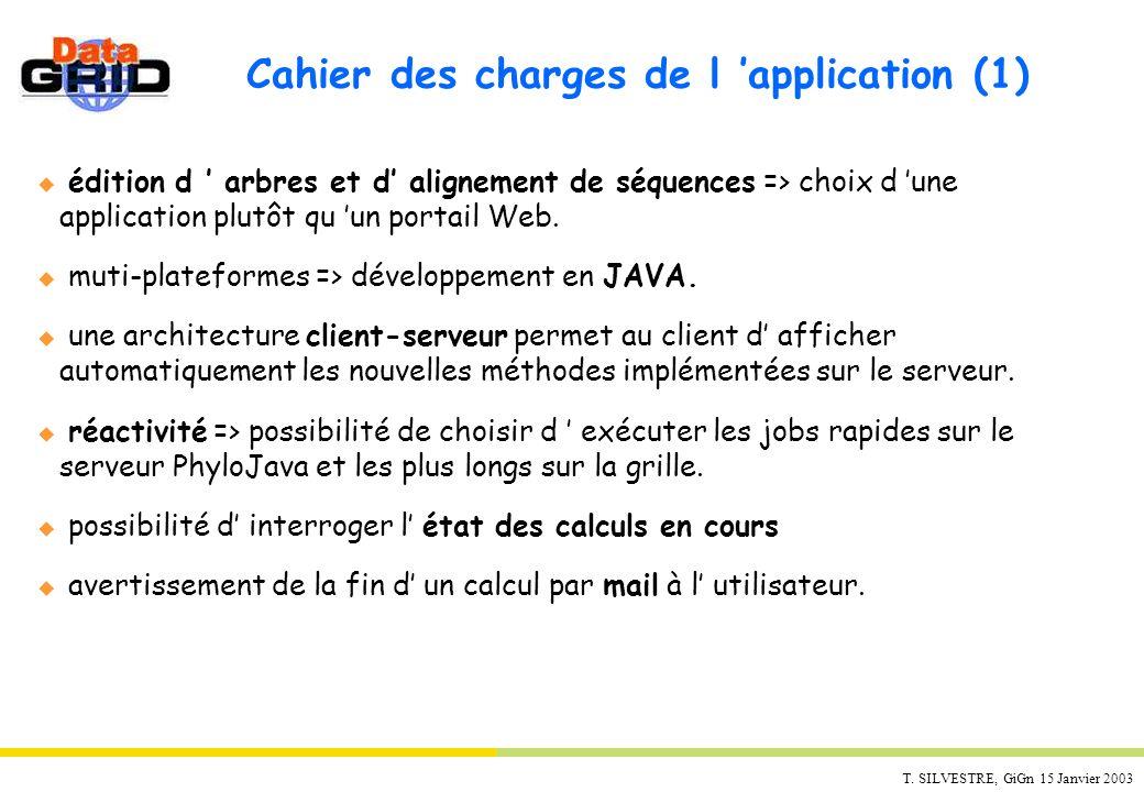 T. SILVESTRE, GiGn 15 Janvier 2003 Cahier des charges de l application (1) u édition d arbres et d alignement de séquences => choix d une application