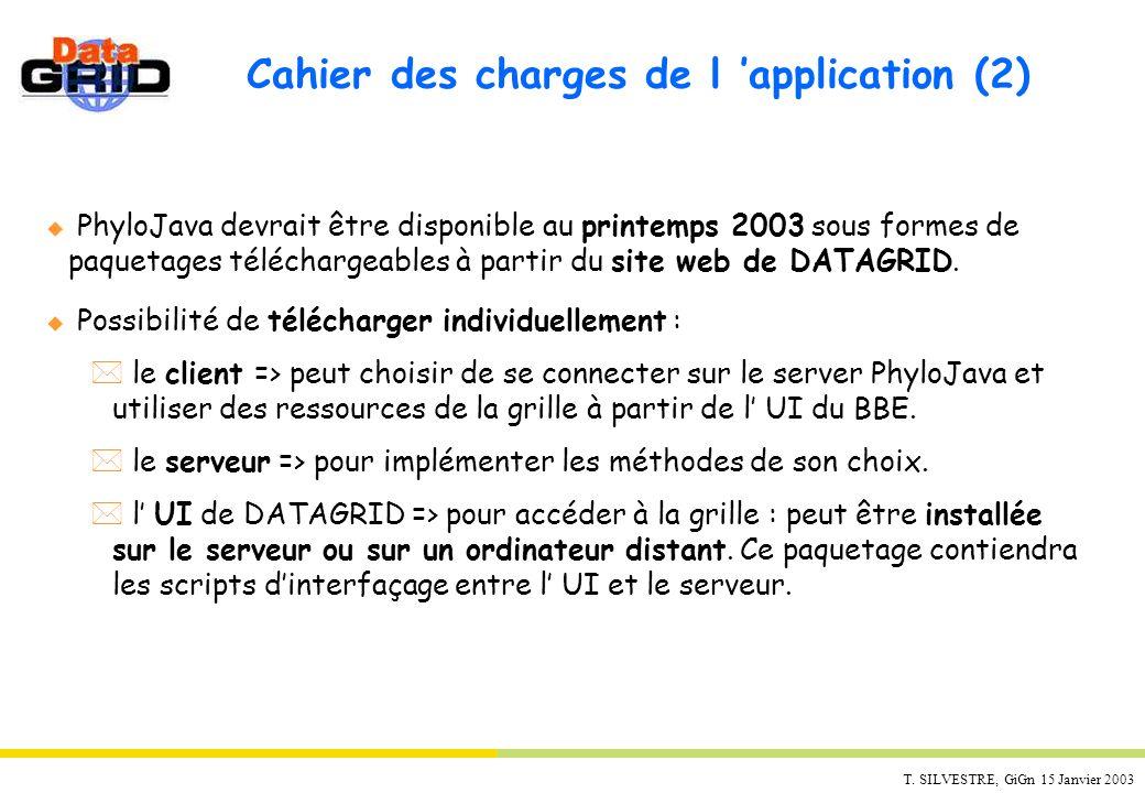 T. SILVESTRE, GiGn 15 Janvier 2003 u PhyloJava devrait être disponible au printemps 2003 sous formes de paquetages téléchargeables à partir du site we