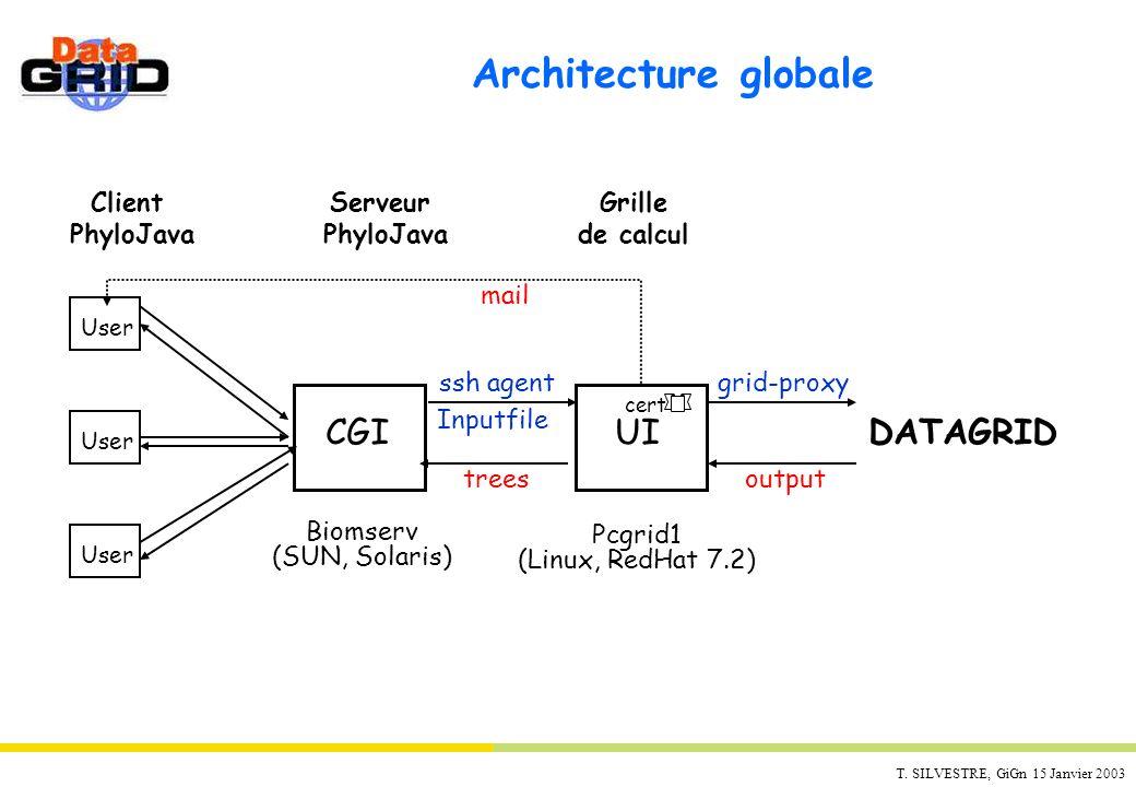 T. SILVESTRE, GiGn 15 Janvier 2003 Architecture globale User DATAGRID UICGI ssh agent Inputfile Biomserv (SUN, Solaris) Pcgrid1 (Linux, RedHat 7.2) gr