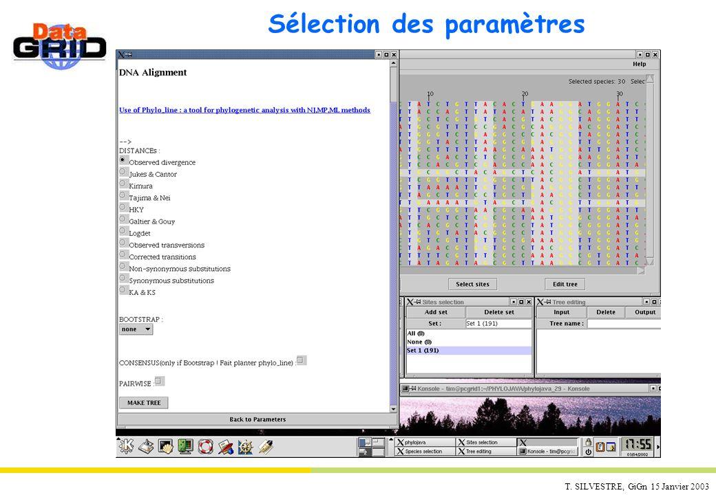T. SILVESTRE, GiGn 15 Janvier 2003 Sélection des paramètres