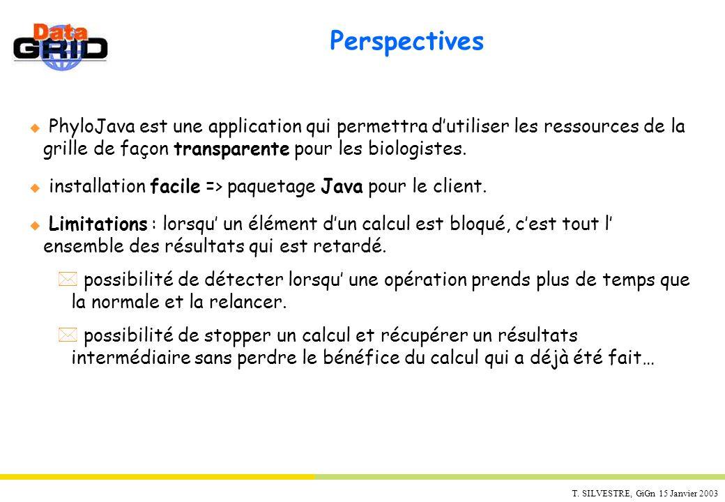 T. SILVESTRE, GiGn 15 Janvier 2003 Perspectives u PhyloJava est une application qui permettra dutiliser les ressources de la grille de façon transpare