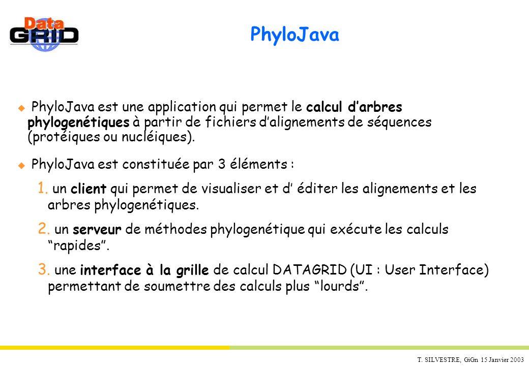 T. SILVESTRE, GiGn 15 Janvier 2003 PhyloJava PhyloJava est une application qui permet le calcul darbres phylogenétiques à partir de fichiers daligneme