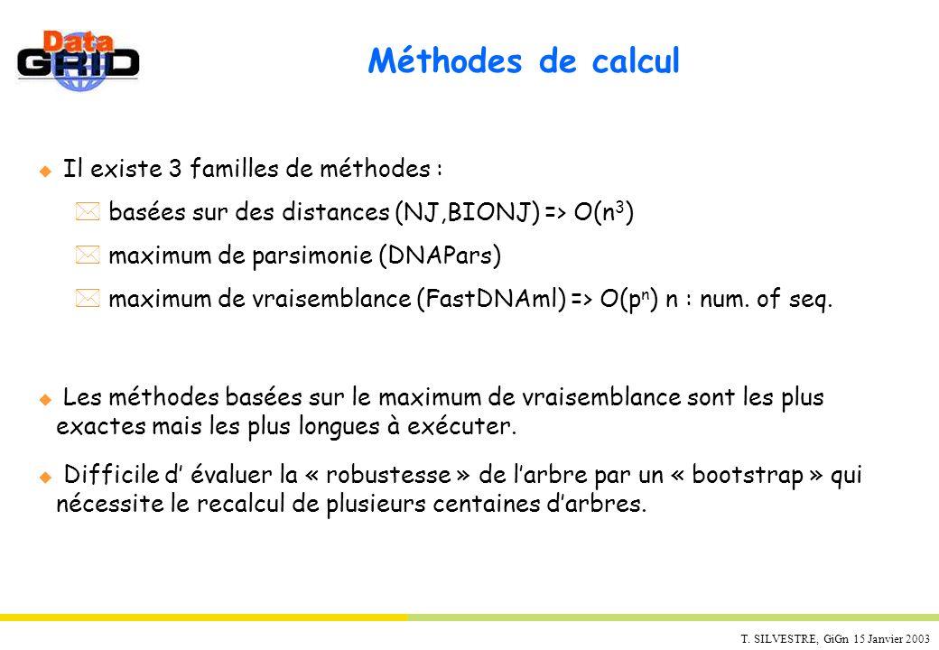 T. SILVESTRE, GiGn 15 Janvier 2003 Méthodes de calcul u Il existe 3 familles de méthodes : * basées sur des distances (NJ,BIONJ) => O(n 3 ) * maximum