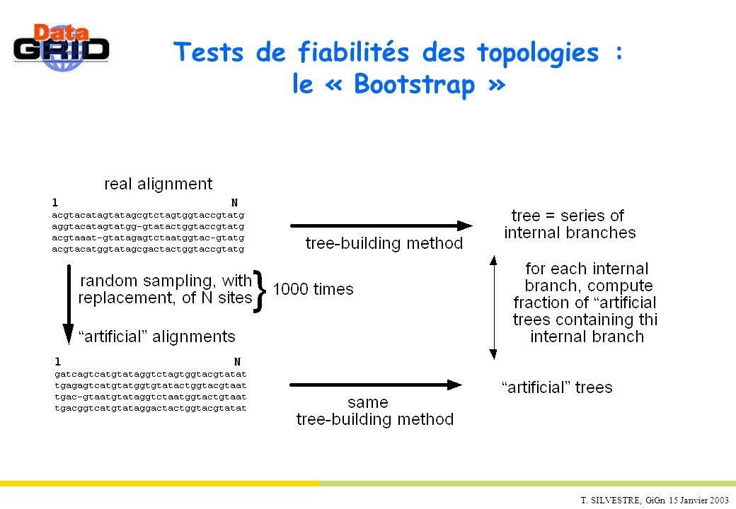 T. SILVESTRE, GiGn 15 Janvier 2003 Tests de fiabilités des topologies : le « Bootstrap »