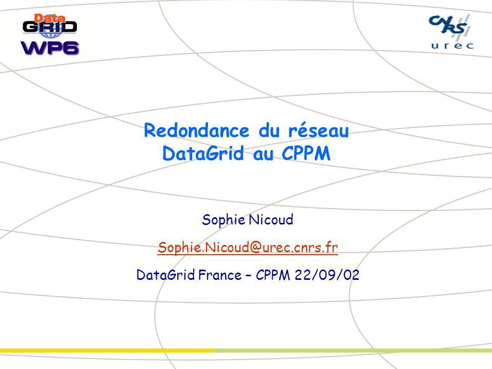 Redondance du réseau DataGrid au CPPM Sophie Nicoud Sophie.Nicoud@urec.cnrs.fr DataGrid France – CPPM 22/09/02