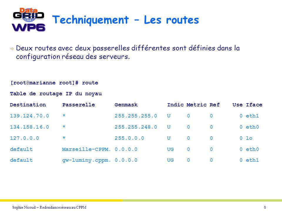 9Sophie Nicoud – Redondance réseau au CPPM Traceroute - 1 [nicoud@chene nicoud]$ /usr/sbin/traceroute marianne.in2p3.fr traceroute: Warning: marianne.in2p3.fr has multiple addresses;using 139.124.70.131 traceroute to marianne.in2p3.fr (139.124.70.131), 30 hops max, 38 byte packets 1 urec-gw3 (195.220.197.62) 2 r-campus.grenet.fr (193.54.185.120) 3 r-plaque1.grenet.fr (193.54.184.33) 4 grenoble.cssi.renater.fr (195.220.98.57) 5 nio-n1.cssi.renater.fr (195.220.98.41) 6 marseille.cssi.renater.fr (195.220.98.138) 7 univ-marseille.cssi.renater.fr (195.220.98.154) 8 139.124.251.250 (139.124.251.250) 9 gw-luminy.cppm.univ-mrs.fr (139.124.70.250) 10 marianne.in2p3.fr (139.124.70.131) Traceroute à partir d une machine de Grenoble
