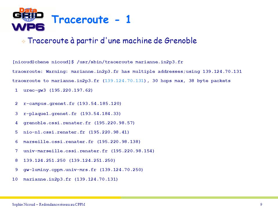9Sophie Nicoud – Redondance réseau au CPPM Traceroute - 1 [nicoud@chene nicoud]$ /usr/sbin/traceroute marianne.in2p3.fr traceroute: Warning: marianne.