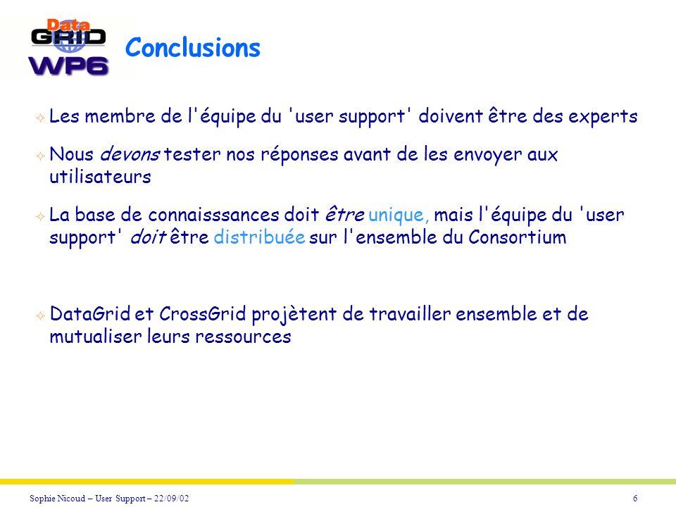 6Sophie Nicoud – User Support – 22/09/02 Conclusions Les membre de l'équipe du 'user support' doivent être des experts Nous devons tester nos réponses