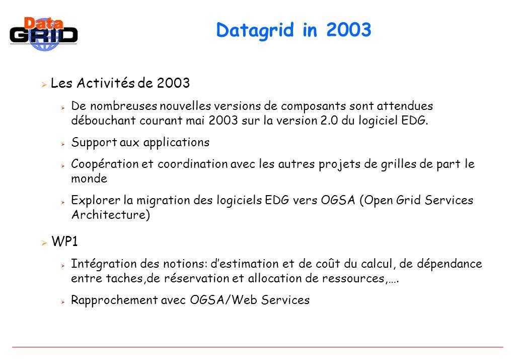 Datagrid in 2003 Les Activités de 2003 De nombreuses nouvelles versions de composants sont attendues débouchant courant mai 2003 sur la version 2.0 du logiciel EDG.