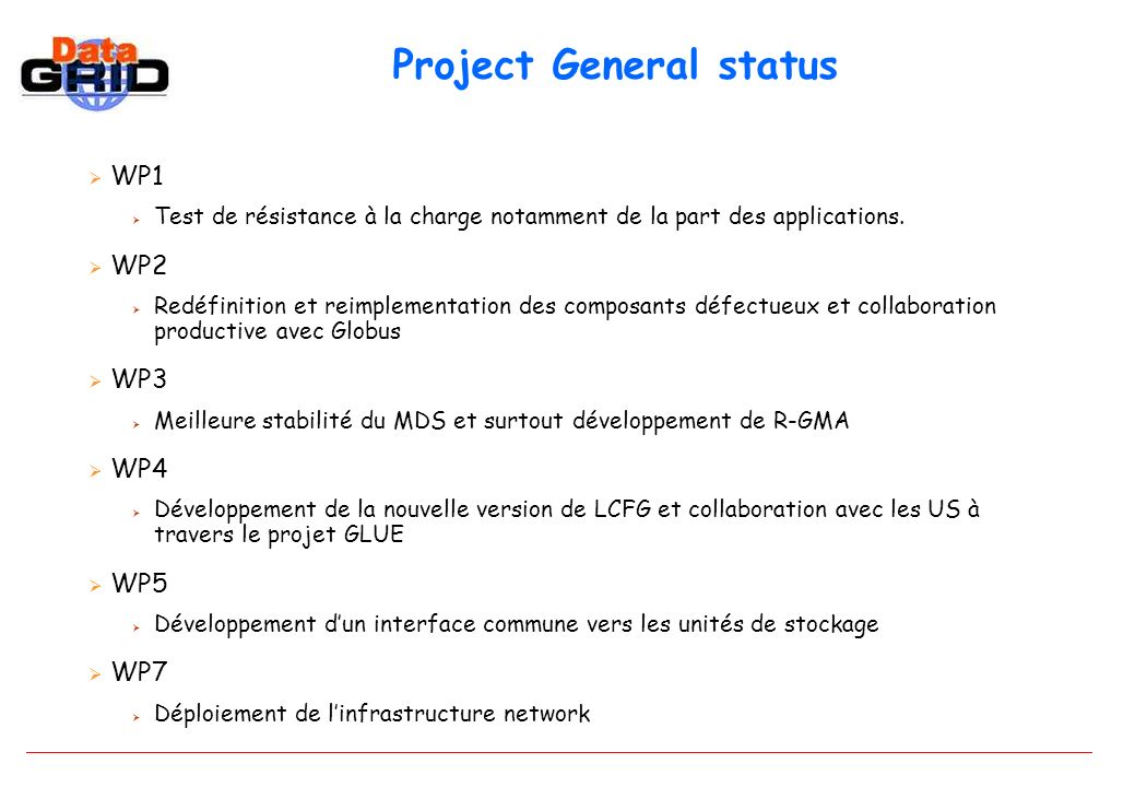 Project General status WP1 Test de résistance à la charge notamment de la part des applications.