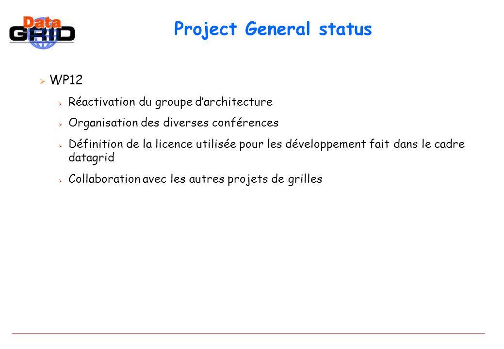 Project General status WP12 Réactivation du groupe darchitecture Organisation des diverses conférences Définition de la licence utilisée pour les développement fait dans le cadre datagrid Collaboration avec les autres projets de grilles