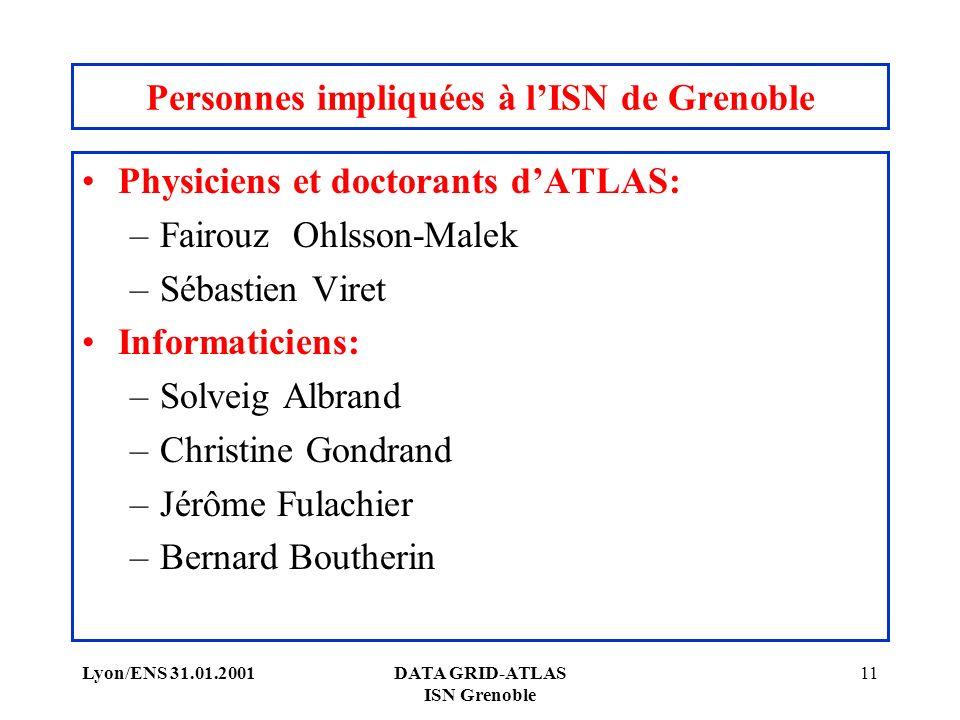 Lyon/ENS 31.01.2001DATA GRID-ATLAS ISN Grenoble 11 Personnes impliquées à lISN de Grenoble Physiciens et doctorants dATLAS: –Fairouz Ohlsson-Malek –Sé
