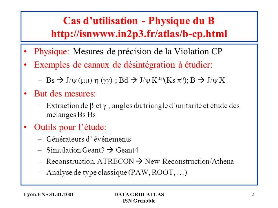 Lyon/ENS 31.01.2001DATA GRID-ATLAS ISN Grenoble 2 Cas dutilisation - Physique du B http://isnwww.in2p3.fr/atlas/b-cp.html Physique: Mesures de précision de la Violation CP Exemples de canaux de désintégration à étudier: –Bs J/ ( ) ( ) ; Bd J/ K* 0 (Ks 0 ); B J/ X But des mesures: –Extraction de et, angles du triangle dunitarité et étude des mélanges Bs Bs Outils pour létude: –Générateurs d événements –Simulation Geant3 Geant4 –Reconstruction, ATRECON New-Reconstruction/Athena –Analyse de type classique (PAW, ROOT, …)