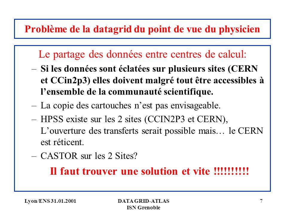 Lyon/ENS 31.01.2001DATA GRID-ATLAS ISN Grenoble 7 Problème de la datagrid du point de vue du physicien Le partage des données entre centres de calcul: –Si les données sont éclatées sur plusieurs sites (CERN et CCin2p3) elles doivent malgré tout être accessibles à lensemble de la communauté scientifique.