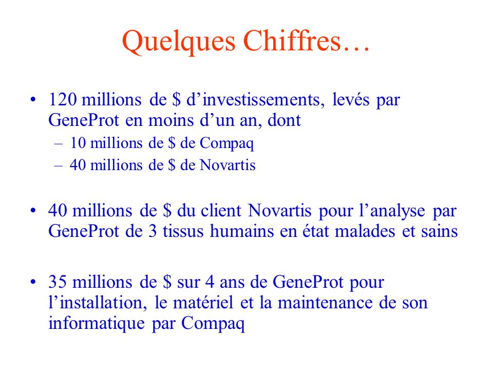 Quelques Chiffres… 120 millions de $ dinvestissements, levés par GeneProt en moins dun an, dont –10 millions de $ de Compaq –40 millions de $ de Novar