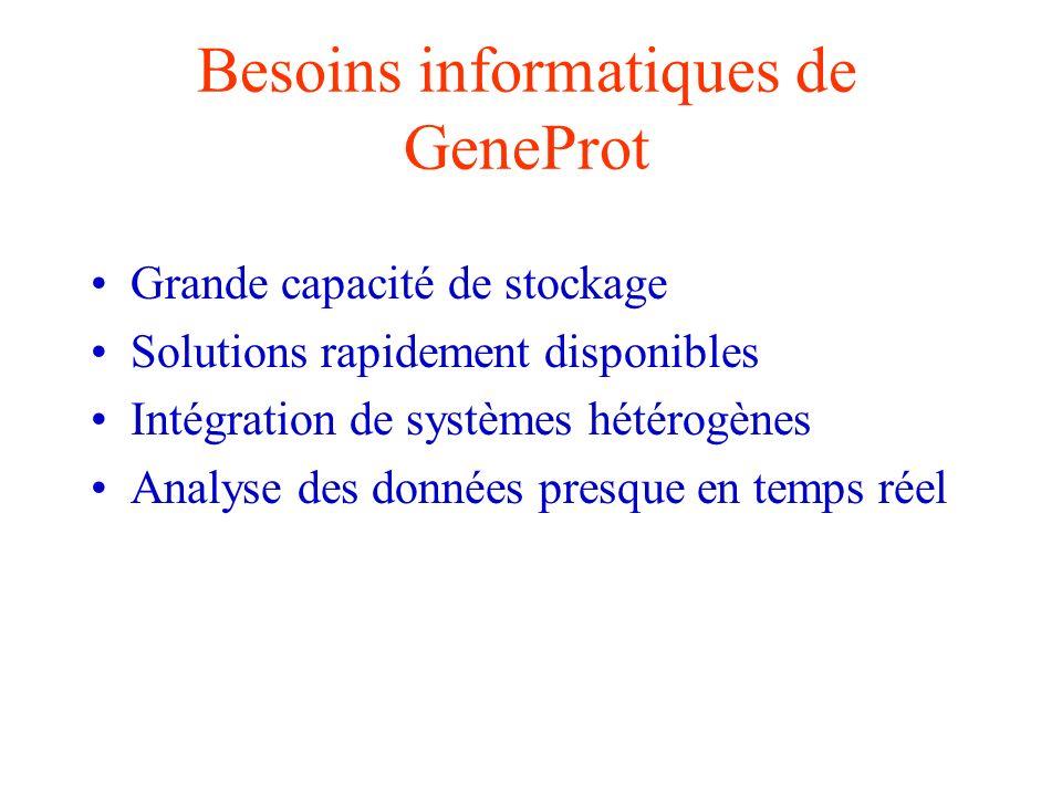 Besoins informatiques de GeneProt Grande capacité de stockage Solutions rapidement disponibles Intégration de systèmes hétérogènes Analyse des données