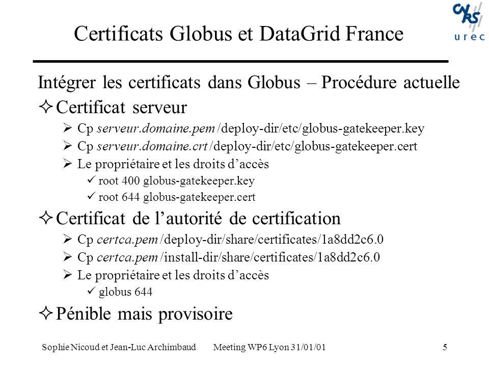 Sophie Nicoud et Jean-Luc Archimbaud Meeting WP6 Lyon 31/01/016 Certificats Globus et DataGrid France ca-signing-policy.conf # EACL entry #1| access_id_CA X509 /Email=ca-administrateur@urec.cnrs.fr/CN=CNRS-Test/OU=UREC/O=CNRS/C=FR pos_rights globus CA:sign cond_subjects globus /*/OU=UREC/O=CNRS/C=FR /*/OU=ISN/O=CNRS/C=FR /*/OU=LPC/O=CNRS/C=FR grid-mapfile /CN=Sophie Nicoud/Email=Sophie.Nicoud@urec.cnrs.fr/OU=UREC/O=CNRS/C=FR griduser /CN=Yannick Legre/Email=legre@clermont.in2p3.fr/OU=LPC/O=CNRS/C=FR yannick … Et la liste de révocation ?