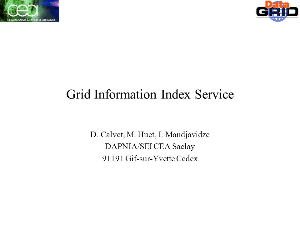 Grid Information Index Service D. Calvet, M. Huet, I.