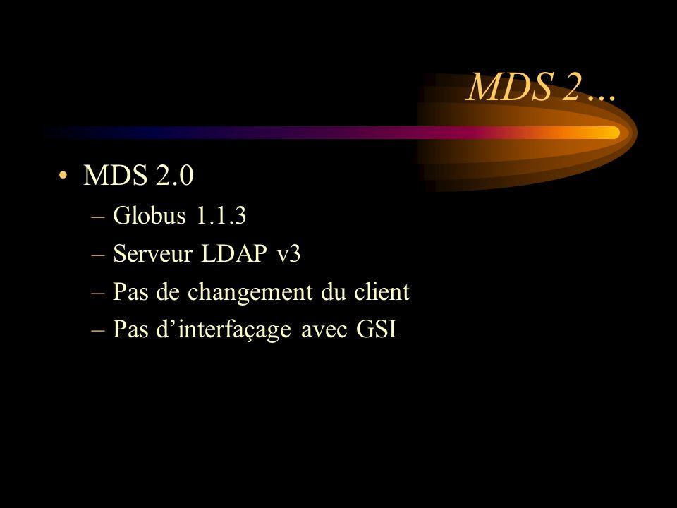 MDS 2… MDS 2.0 –Globus 1.1.3 –Serveur LDAP v3 –Pas de changement du client –Pas dinterfaçage avec GSI