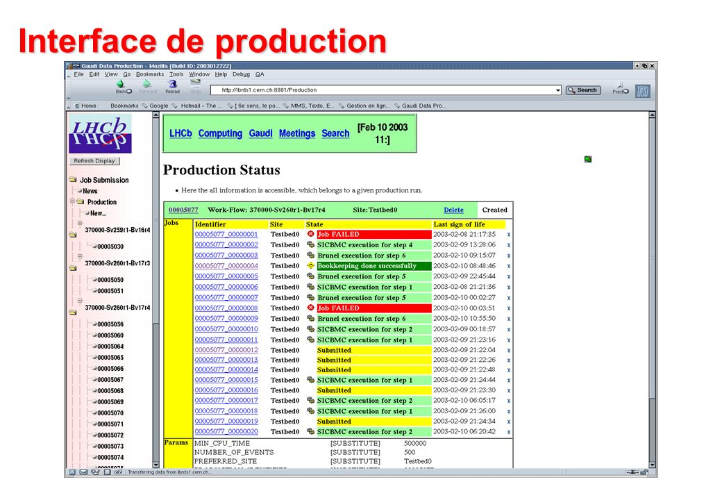 Interface de production