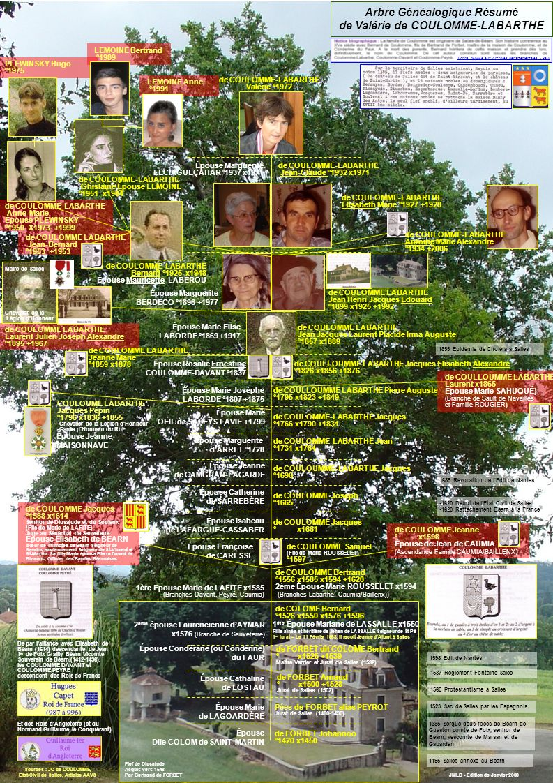 Arbre Généalogique Résumé de Valérie de COULOMME-LABARTHE JMLB - Edition de Janvier 2008 de COULOMME-LABARTHE Valérie °1972 de COULOMME-LABARTHE Jean-