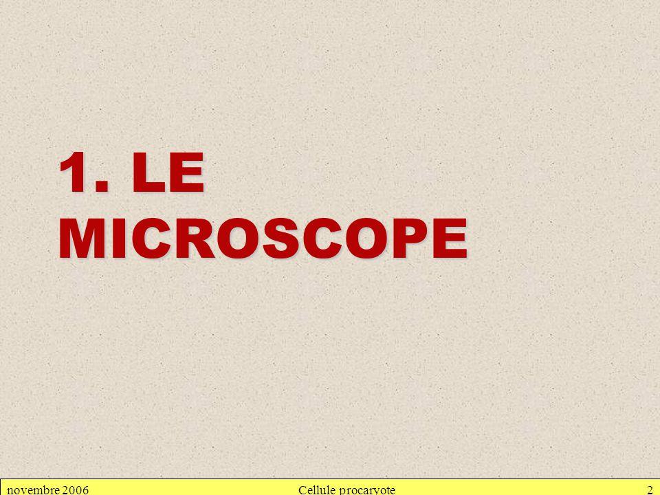 novembre 2006Cellule procaryote2 1. LE MICROSCOPE