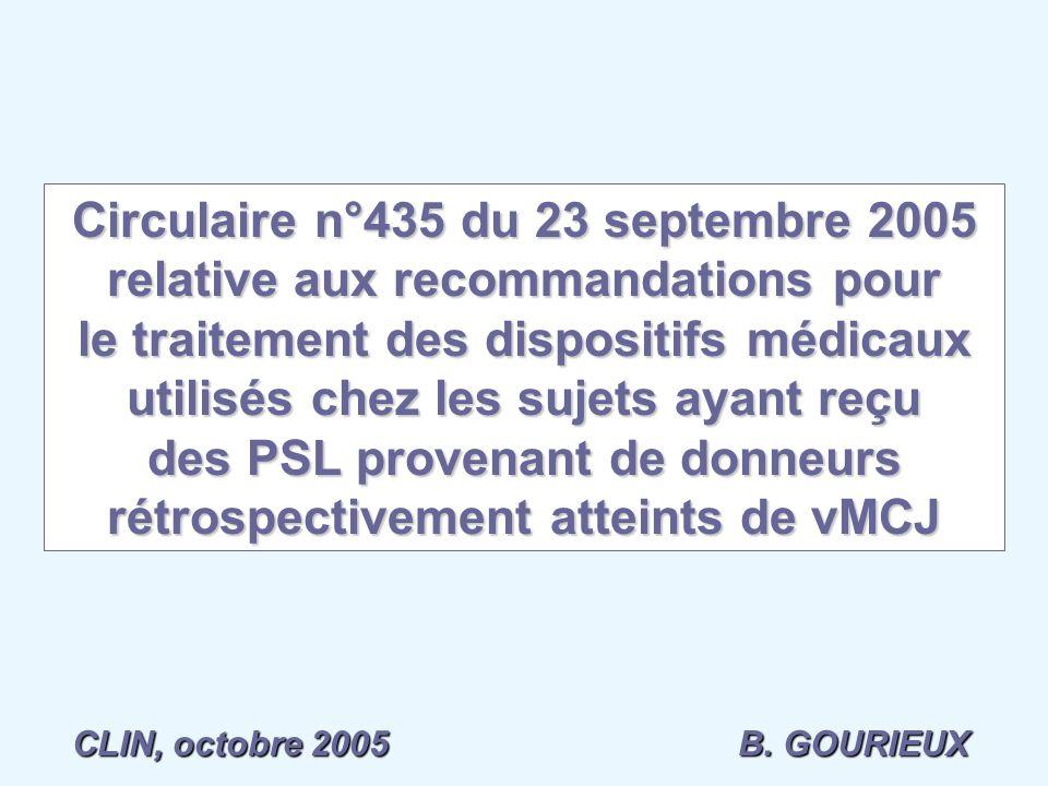 Circulaire n°435 du 23 septembre 2005 relative aux recommandations pour le traitement des dispositifs médicaux utilisés chez les sujets ayant reçu des