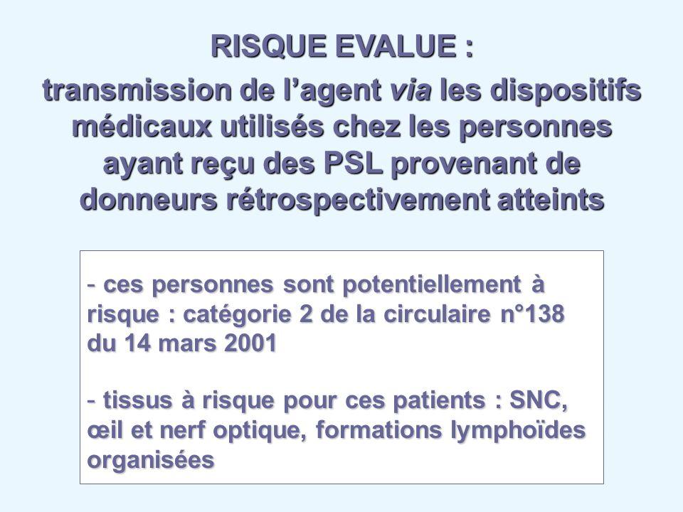 RISQUE EVALUE : transmission de lagent via les dispositifs médicaux utilisés chez les personnes ayant reçu des PSL provenant de donneurs rétrospective