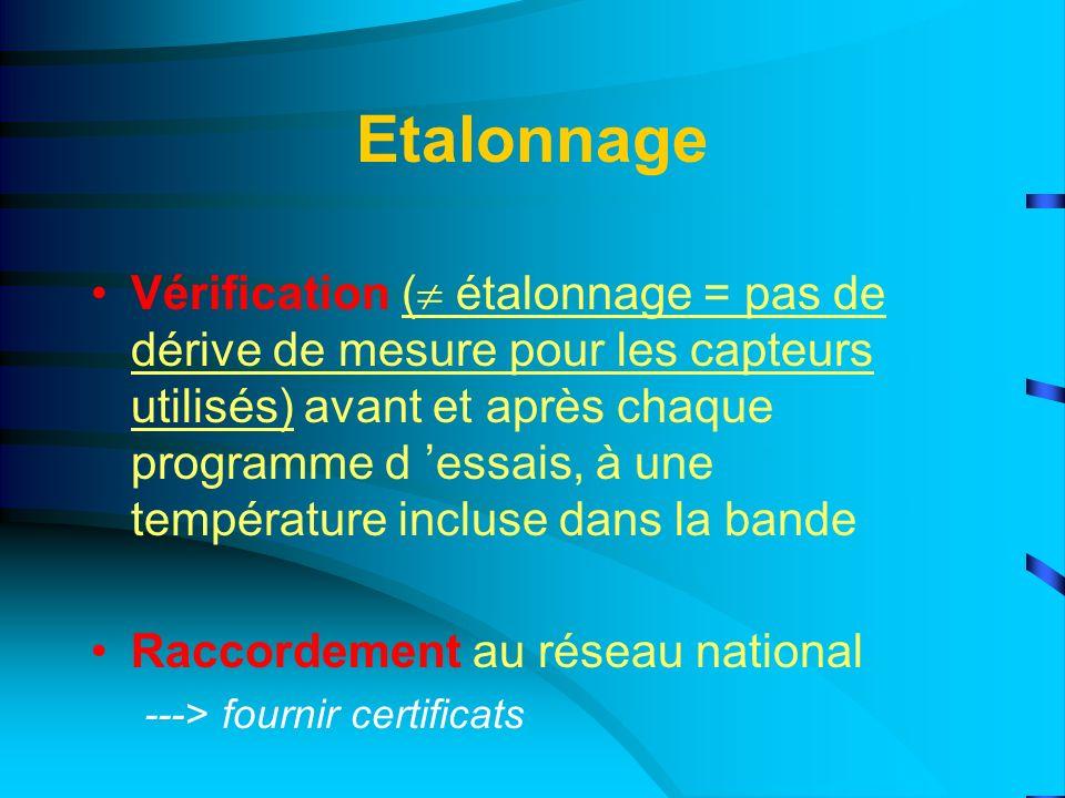 Etalonnage Vérification ( étalonnage = pas de dérive de mesure pour les capteurs utilisés) avant et après chaque programme d essais, à une température