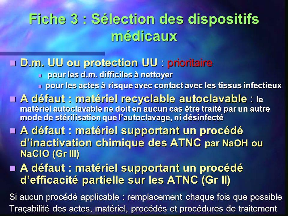 Fiche 3 : Sélection des dispositifs médicaux D.m. UU ou protection UU : prioritaire D.m. UU ou protection UU : prioritaire pour les d.m. difficiles à