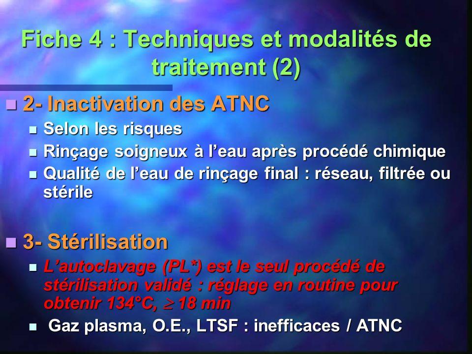 Fiche 4 : Techniques et modalités de traitement (2) 2- Inactivation des ATNC 2- Inactivation des ATNC Selon les risques Selon les risques Rinçage soig