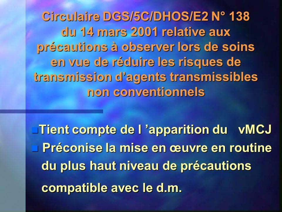 Circulaire DGS/5C/DHOS/E2 N° 138 du 14 mars 2001 relative aux précautions à observer lors de soins en vue de réduire les risques de transmission dagen