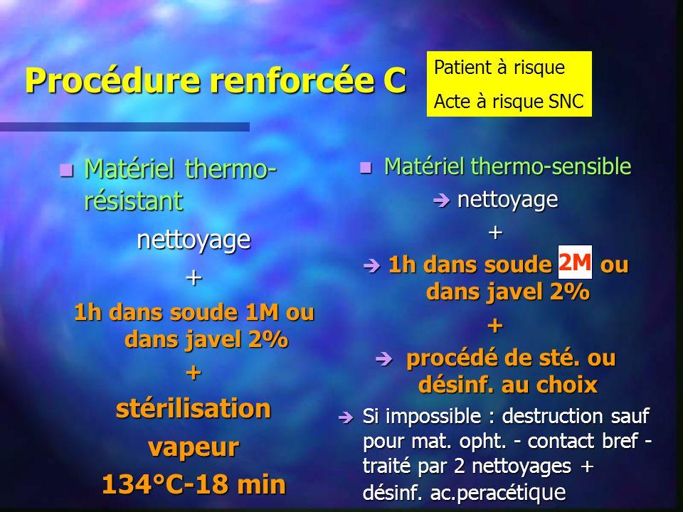 Procédure renforcée C Matériel thermo- résistant Matériel thermo- résistantnettoyage+ 1h dans soude 1M ou dans javel 2% +stérilisationvapeur 134°C-18