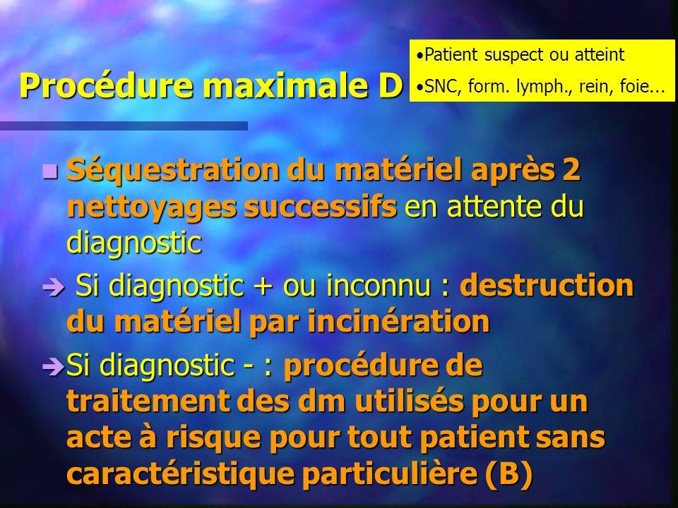 Procédure maximale D Séquestration du matériel après 2 nettoyages successifs en attente du diagnostic Séquestration du matériel après 2 nettoyages suc