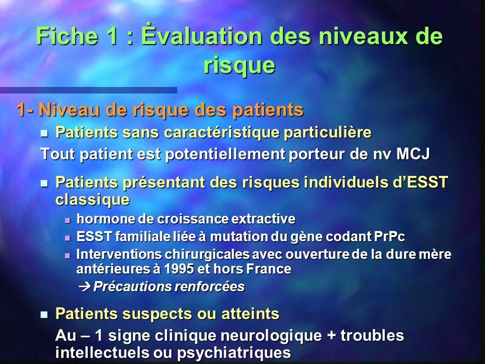 Fiche 1 : Ėvaluation des niveaux de risque 1- Niveau de risque des patients Patients sans caractéristique particulière Patients sans caractéristique p