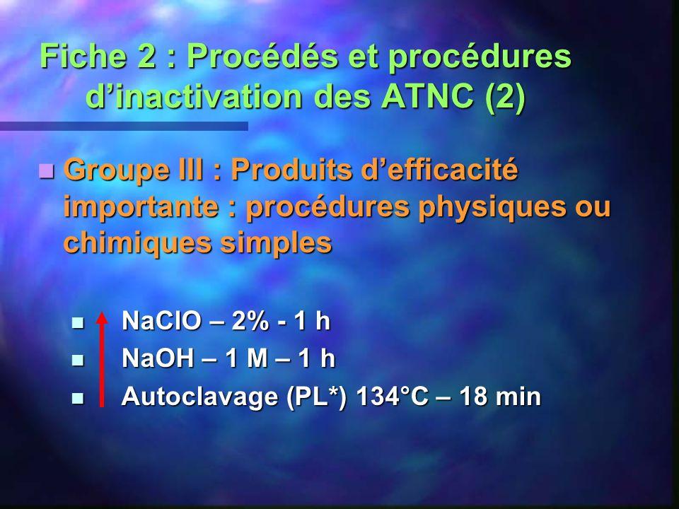 Fiche 2 : Procédés et procédures dinactivation des ATNC (2) Groupe III : Produits defficacité importante : procédures physiques ou chimiques simples G