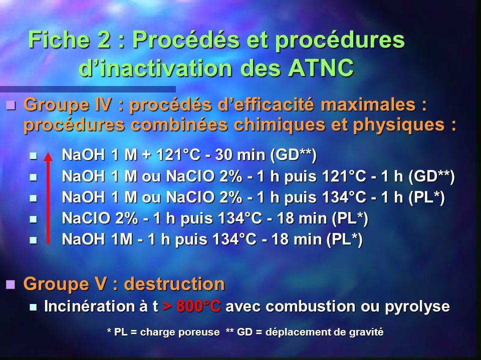 Fiche 2 : Procédés et procédures dinactivation des ATNC Groupe IV : procédés defficacité maximales : procédures combinées chimiques et physiques : Gro