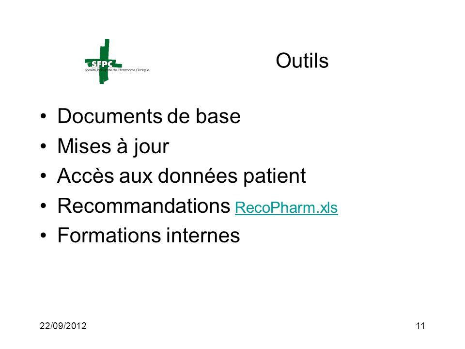 22/09/201211 Outils Documents de base Mises à jour Accès aux données patient Recommandations RecoPharm.xls RecoPharm.xls Formations internes