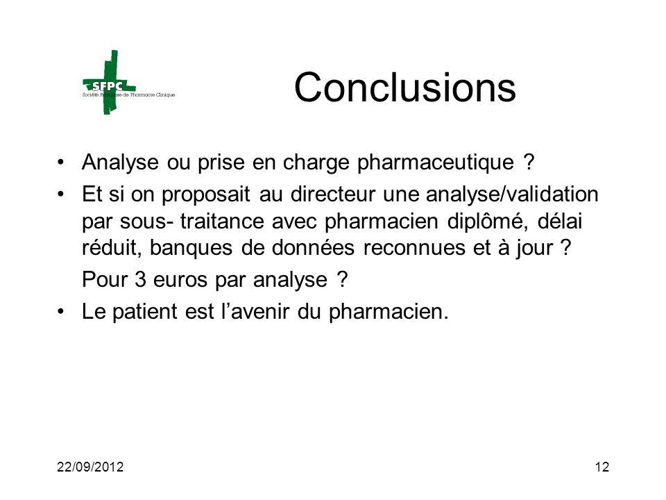 22/09/201212 Conclusions Analyse ou prise en charge pharmaceutique ? Et si on proposait au directeur une analyse/validation par sous- traitance avec p