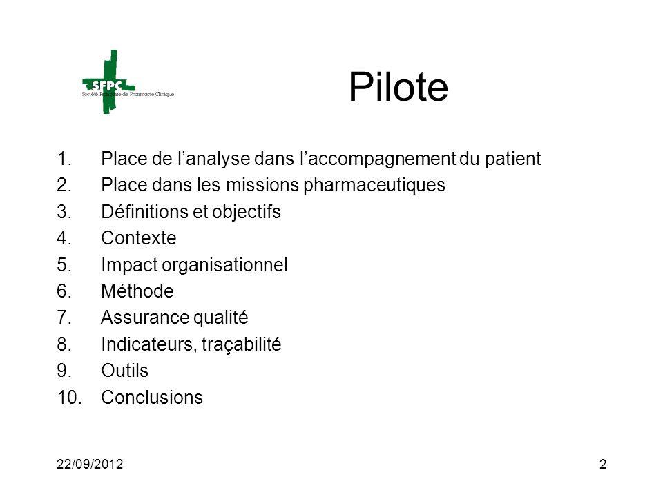 22/09/20122 Pilote 1.Place de lanalyse dans laccompagnement du patient 2.Place dans les missions pharmaceutiques 3.Définitions et objectifs 4.Contexte