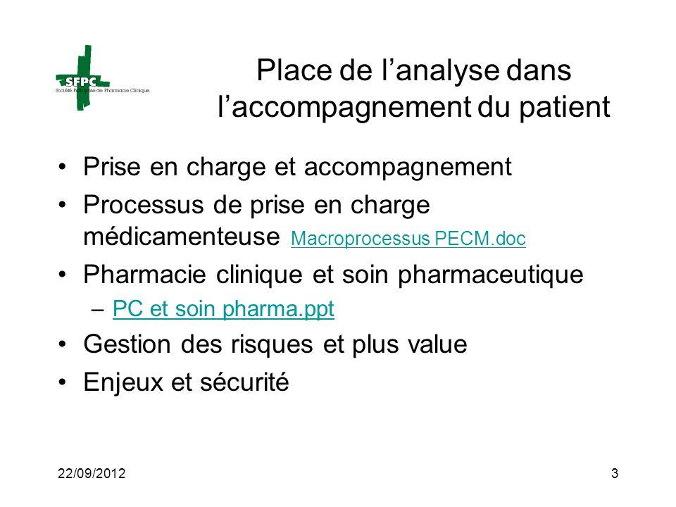 22/09/20123 Place de lanalyse dans laccompagnement du patient Prise en charge et accompagnement Processus de prise en charge médicamenteuse Macroproce