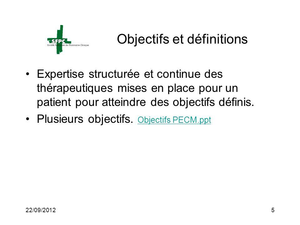 22/09/20125 Objectifs et définitions Expertise structurée et continue des thérapeutiques mises en place pour un patient pour atteindre des objectifs d