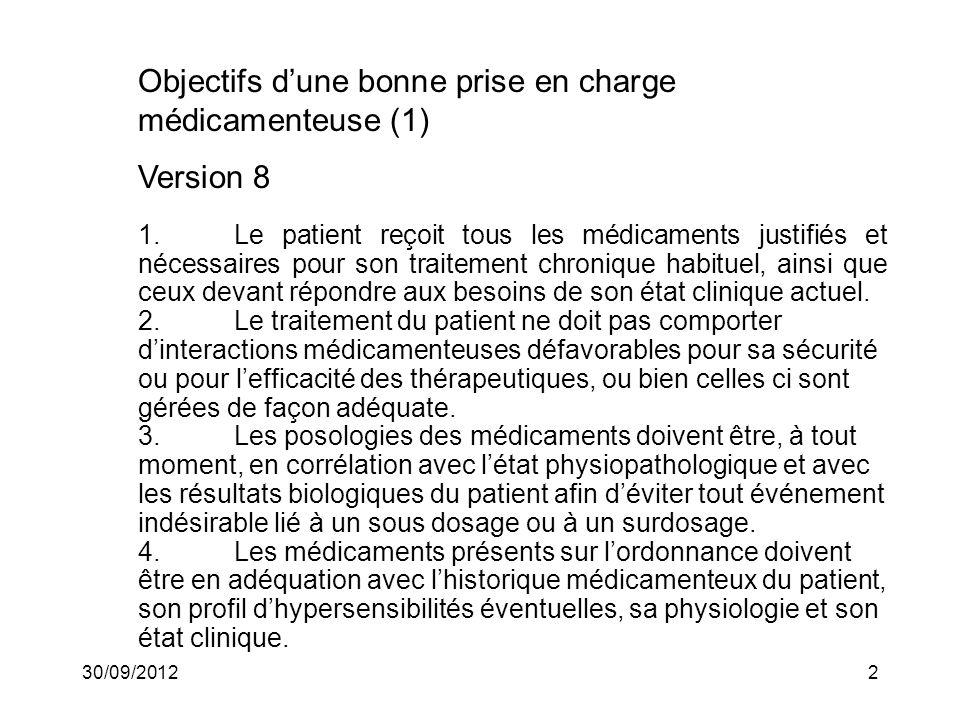 30/09/20123 Objectifs dune bonne prise en charge médicamenteuse (2) Version 8 5.Les médicaments présents sur lordonnance doivent répondre aux objectifs thérapeutiques choisis par le médecin prescripteur et le patient et à eux seuls.